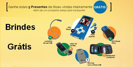 Brindes Gr�tis MP4 Player, Mini Mouse,  Mini Hub, Lumin�ria de Led e Leitor de Cart�es